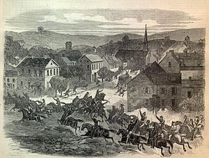Guerrilla warfare in the American Civil War - Morgan's Raiders enter Washington, Ohio