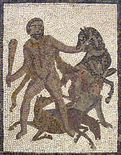 Hercules stealing the Man-Eating Horses of Diomedes.