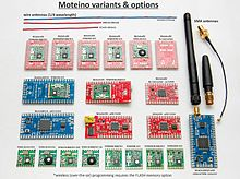 These are the different types of available Moteino boards and their transceiver options.