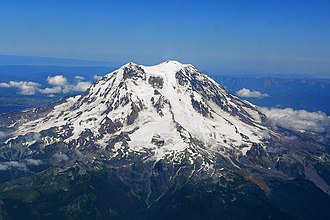 Mount Rainier - Aerial photograph of Mount Rainier's western slope.