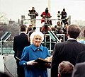 Mrs. Barbara Bush Holds the Two Bibles Her Husband will Use when He Takes the Presidential Oath of Office.jpg