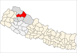 map of Mugu, Nepal