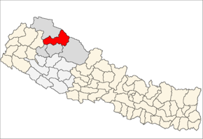 Mugu District i Karnali Zone (grå) i Mid-Western Development Region (grå + lysegrå)