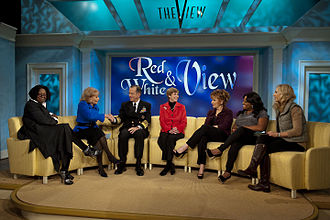 Television in the United States - U.S. Navy Adm. Mike Mullen, chairman of the Joint Chiefs of Staff and his wife, Deborah, appear on The View on Nov 24, 2010.