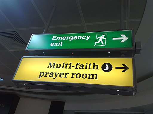 Multi-faith prayer room sign at London Heathrow Airport