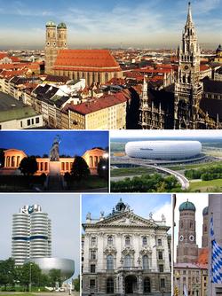 从上顺时针:慕尼黑鸟瞰、安联球场、圣母主教座堂与巴伐利亚旗帜、正义宫、宝马公司总部大厦、特蕾西娅草坪前方的名人堂和巴伐利亚雕像