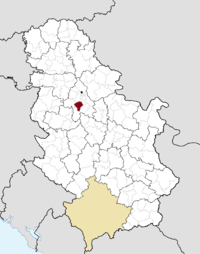 Location of the municipality of Barajevo within Serbia