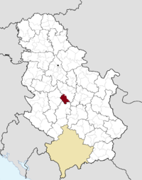 Location of the municipality of Knić within Serbia