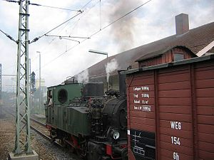 Backnang–Ludwigsburg railway - Locomotive 11 of the GES with a museum train in Marbach (June 2004)
