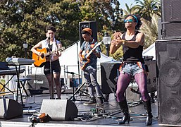 Musicians and ASL interpreter at San Francisco Tranch March 2016.jpg
