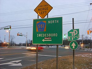 New Jersey Route 140 - NJ 140 eastbound at CR 551 in Carneys Point