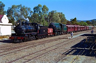 Pichi Richi Railway - NM25 and W916 at Quorn station in May 2004