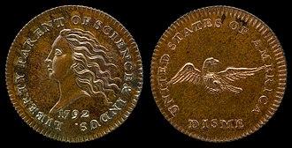 Dime (United States coin) - 1792 Disme copper pattern