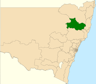 Electoral district of Tamworth - Location in New South Wales
