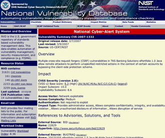 Cross-site request forgery - A National Vulnerability Database page describing a CSRF vulnerability