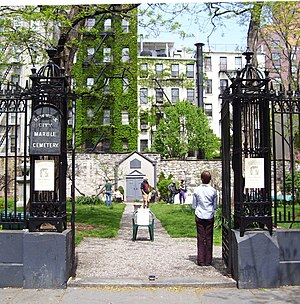 New York City Marble Cemetery - The cemetery entrance on an open house day (May 1, 2011)