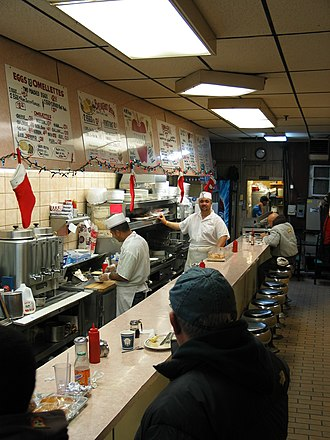 Greasy spoon - A counter in a greasy spoon in Brooklyn