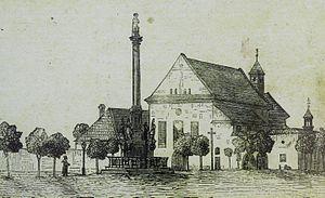 Opočno - Kupkovo náměstí with Marian Column and the Church of the Nativity