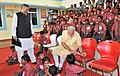 Narendra Modi interacting with specially abled children, at Saksham Education City, Jawanga, Dantewada, in Chhattisgarh on May 09, 2015. The Chief Minister of Chhattisgarh, Dr. Raman Singh is also seen (1).jpg