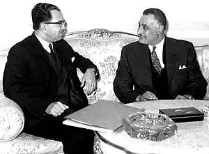 Unified Political Command - Nasser with the Iraqi Prime Minister al-Bazzaz (left): Still in February 1966 the Egyptian-Iraqi Unified Political Command declared its satisfaction about the merger progress in both republics