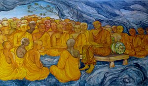 First Buddhist council - First Council at Rajgir, painting at the Nava Jetavana, Shravasti