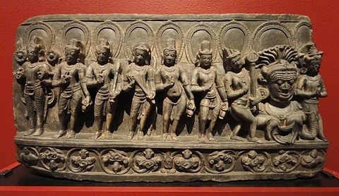 Navagraha (anthropomorphic forms of astronomical bodies), Bihar, India, 10th century AD, schist - San Diego Museum of Art - DSC06389.JPG