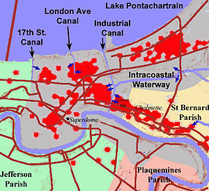 2005 levee failures in Greater New Orleans - Sketch of New Orleans (shaded gray), indicating the locations of the principal breaches in the levees/floodwalls (dark blue arrows). Red dots show locations of deaths.