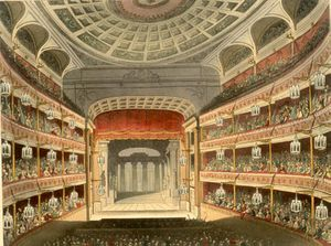 1809 in the United Kingdom - The Theatre Royal, Covent Garden as drawn by Augustus Pugin. This building opened in 1809 to replace its predecessor, which had burned down in 1808.