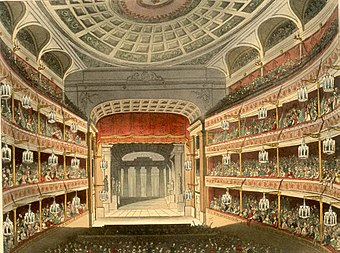1810 illustration of the auditorium of the second theatre New Covent Garden Theatre Microcosm edited.jpg