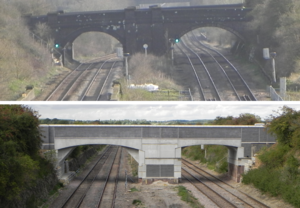 Electric Spine - Bridges over the Midland Main Line in Bedfordshire have been replaced to allow greater clearances for electrification and larger rolling stock. Before (top) and after (bottom) the 2014 upgrade.