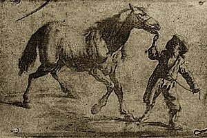 Photograph - The earliest known surviving product of Nicéphore Niépce's heliography process, 1825. It is an ink on paper print and reproduces a 17th-century Flemish engraving showing a man leading a horse.