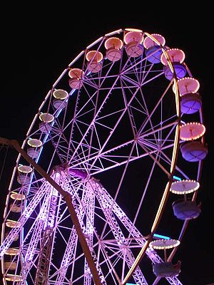 A Ferris wheel at night.