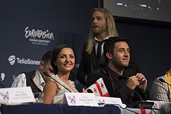 Nodi Tatishvili and Sophie Gelovani, ESC2013 press conference 01.jpg