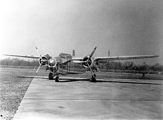 North American B-25 Mitchell - Nose-on view of the NA-40 prototype, showing the constant dihedral wing design discarded in early development of the successor B-25 design.