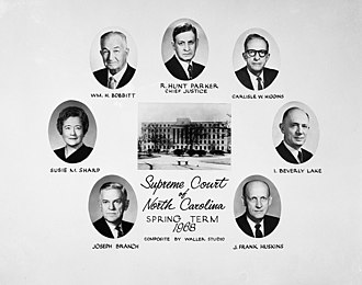 Susie Sharp - Justices of the North Carolina Supreme Court, Spring Term, 1968. Sharp's portrait is at the far left.