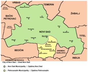 Politics of Novi Sad - Map of municipalities and settlements of the City of Novi Sad