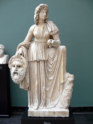 Melpomene - Roman statue of Melpomene, 2nd century AD. The muse is shown in a long-sleeved garment with a high belt, clothing that was associated with tragic actors. Her wreath of vines and grapes alludes to Dionysus, the god of the theatre.