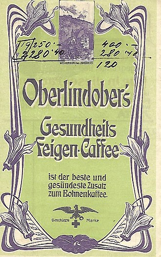 Coffee substitute - Coffee substitute of Feigen-Coffee, historical advertisement (late 19th century)