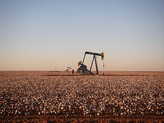 Permian Basin (North America) - Active Permian Basin pumpjack east of Andrews, TX