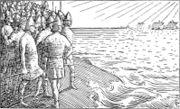 Olav Tryggvasons saga - Olavs skip seiler forbi - H. Egedius