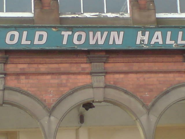 Old old town hall sign