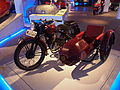 Old red colored Typhoon motorcycle combination pic1 Teknikens och Sjöfartens hus, Science and Maritime House.JPG