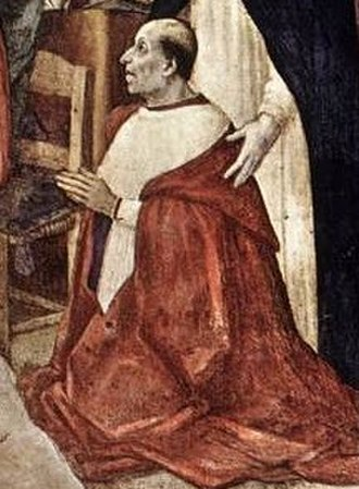 Oliviero Carafa - Cardinal Oliviero Carafa. Detail of Filippino Lippi's Annunciation  in the Carafa Chapel of Santa Maria sopra Minerva (1489).