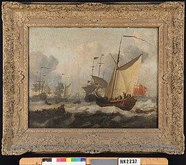 Zeilschepen in een stevige wind voor de kust