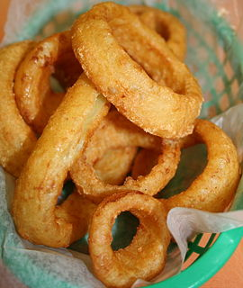 Onion ring Appetizer or side dish popular in the US, Canada, and UK