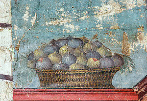 Dried fruit - Figs in basket, Pompeii: Dried figs were very popular in ancient Rome.