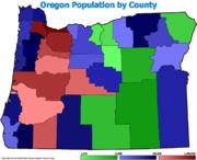 Oregon county pop 2007