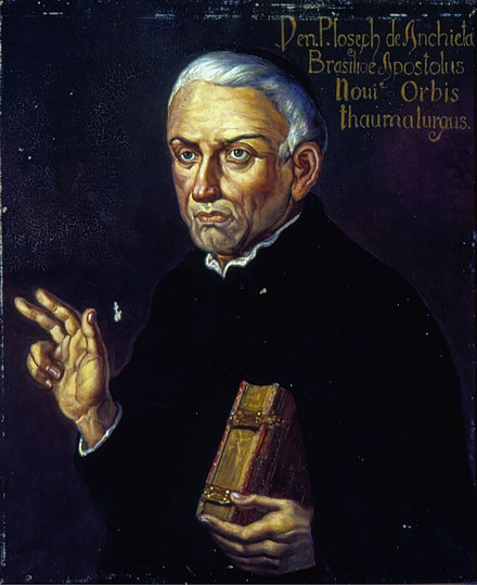 The Spanish missionary Jose de Anchieta was, together with Manuel da Nobrega, the first Jesuit that Ignacio de Loyola sends to America. Oscar Pereira da Silva - Retrato de Anchieta, Acervo do Museu Paulista da USP.jpg