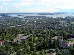 View of Oslo looking south from Holmenkollen, directly facing Nesodden.