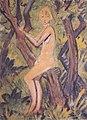 Otto Mueller - Nacktes Mädchen auf Baum - ca1922.jpeg